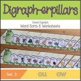 Digraph-erpillars: Vowel Digraph Word Sorts & Worksheets – Set 3: ou, ow