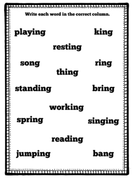Digraph -ng & Suffix -ing Word Sort