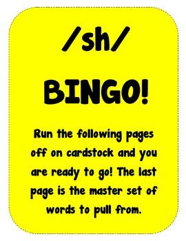 Digraph /sh/ Bingo