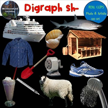 Digraph sh Clip Art Beginning Sounds Real Clips Digital Stickers 24 images
