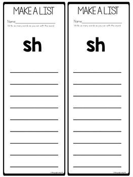 Digraph Worksheets sh