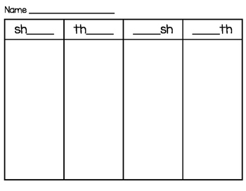 Digraph sh and th Word Sort