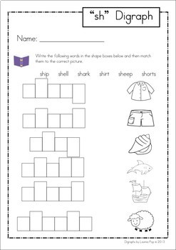 Digraph word work BUNDLE 1 - CH, PH, SH, TH, WH