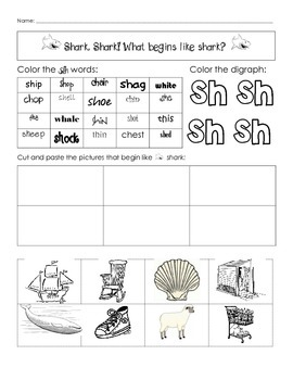 Digraph word work for sh, ch, th, wh