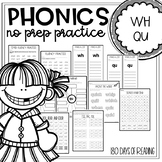 Digraph worksheets for combination wh, qu
