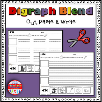 Digraph/Blend Cut, Paste & Write Worksheets - A Differenti