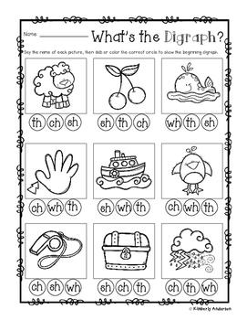 Digraphs BUNDLE (3 Centers: Picture Clip Popsicle Cards -13 No Prep Sheets)