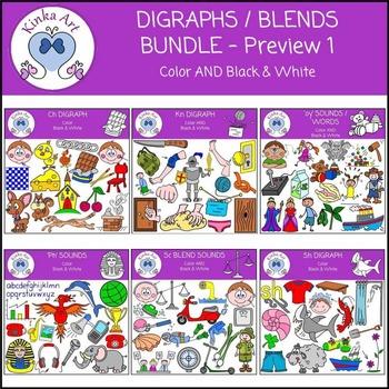 Digraphs / Blends Clip Art Bundle #1
