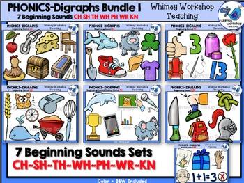 Digraphs Beginning Sounds Bundle Clip Art - Whimsy Workshop Teaching
