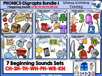 Digraphs Beginning Sounds Bundle Clip Art - Whimsy Worksho