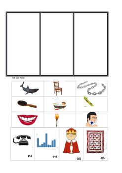 Digraphs (Bundle) Writing worksheets, cut/paste, Matching Game