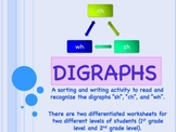 Digraphs: Ch, Wh, Sh Word Sorting & Writing Activity