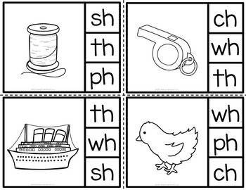 Digraphs Clip Cards|Beginning Digraphs