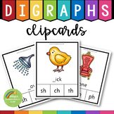 52 Digraphs Clipcards and Worksheets (th, sh, ch, wh, ph, qu, tch, ng, ck)