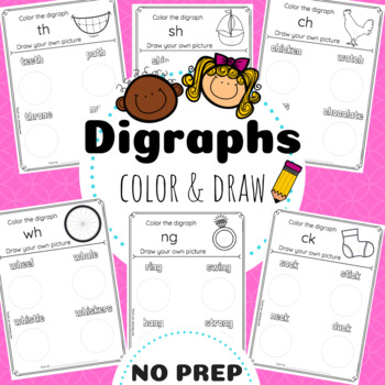Digraphs Color & Draw Worksheets