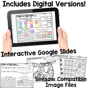Digraphs: Dab & Learn Print & Go Practice EDITABLE