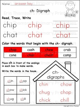 Daily 5 Word Work - Digraphs