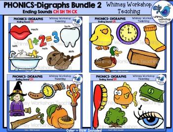 Digraphs Endings Bundle Clip Art - Whimsy Workshop Teaching