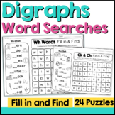 Digraphs  Word Search: Fill-In & Find Phonics Puzzles (ch sh wh ph th ck)