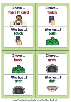 Digraphs Game: I have, who has (ch and sh)