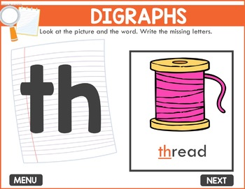 Digraphs Game -  Phonics Game for Smartboards & Whiteboards