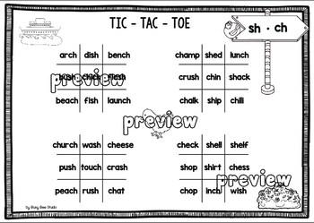 Digraphs Game: Tic Tac Toe (ch, sh, tch, wh, th, ng, ck)