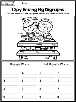 Digraphs: I Spy Digraph Words No Prep Packet