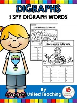 Digraphs: I Spy Digraph Words No Prep Packet
