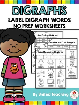Digraphs: Label Digraph Words No Prep Packet