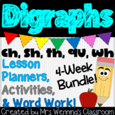Digraphs Bundle! 4 Weeks of Lesson Planners, Activities, and Word Work!