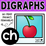 Digraphs Phonics CH Literacy Printables for Kindergarten and First Grade