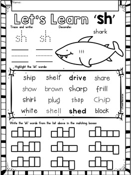 "Digraphs Phonics NO PREP Printables  ""sh"""