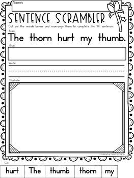 "Digraphs Phonics NO PREP Printables  ""th"""