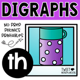 Digraphs TH phonics literacy printables for Kindergarten and First Grade