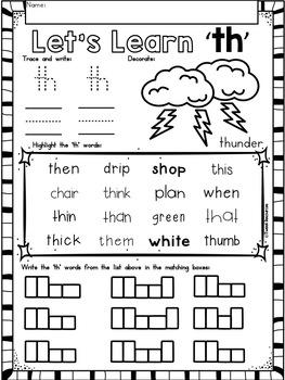 Digraphs TH phonics literacy printables for Kindergarten ...