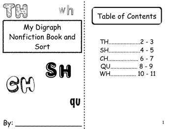 Digraphs Non Fiction Book and Picture Sort. Teaches how to use non fiction.