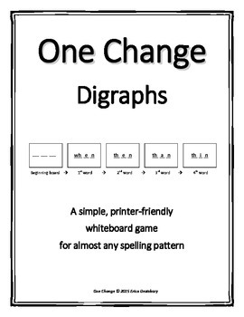 """Digraphs- """"One Change"""" Whiteboard Game (with & without -tch)"""