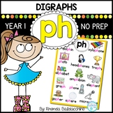 Digraphs: PH Worksheets ~ NO PREP Printables