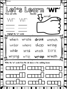 Digraphs Phonics WR Literacy Printables for Kindergarten and First Grade