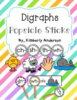 Digraphs Popsicle Stick and Activity Sheet ( ch- / sh- / th- / wh- )