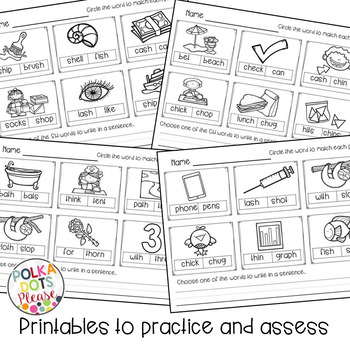 Digraphs Projectable Mini-Lesson and Printables for SH, TH, CH, PH