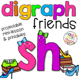 Digraphs Projectable Mini-Lesson and Printables for SH, TH