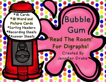 Digraphs 'Read The Room' ~Bubble Gum~ Version! Several Ways To Use!