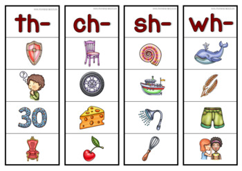 Digraphs Strips and Worksheets (th, sh, ch, wh, ph, qu, tch, ng, ck)