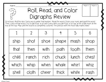 Digraphs- Roll, Read, and Color