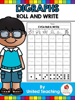 Digraphs: Roll and Write No Prep Worksheets