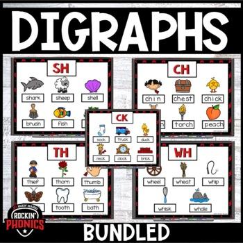 Digraphs (SH, CH, TH, WH, -CK) Rockin' Phonics Bundled