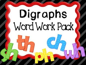 Digraphs Word Work Pack