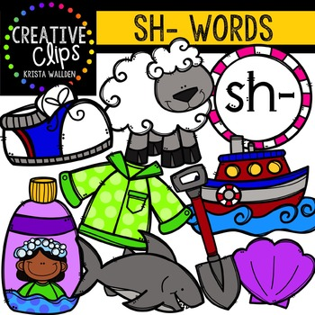 Digraphs - SH Words {Creative Clips Digital Clipart}