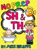 Digraphs: SH TH Worksheets and Activities {NO PREP}